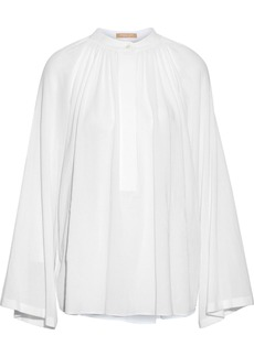 Michael Kors Collection Woman Gathered Cotton-gauze Blouse White