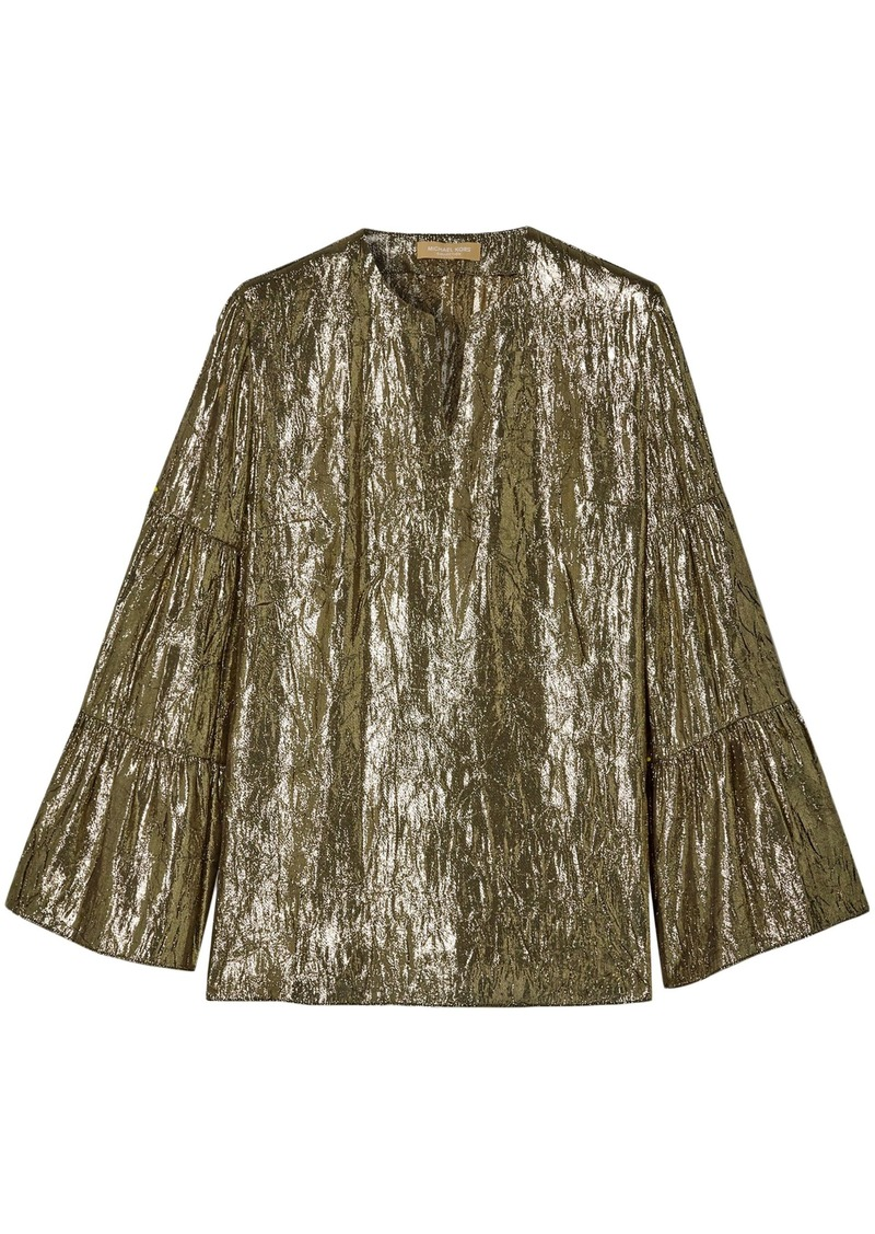 Michael Kors Collection Woman Gathered Crinkled Silk-blend Lamé Top Gold