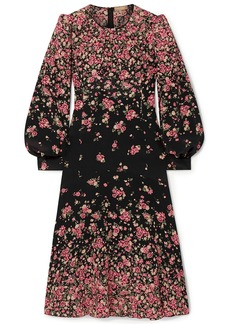 Michael Kors Collection Woman Gathered Floral-print Silk Crepe De Chine Dress Black