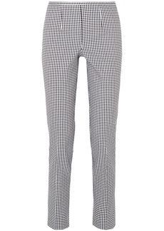 Michael Kors Collection Woman Gingham Cotton-blend Straight-leg Pants Black