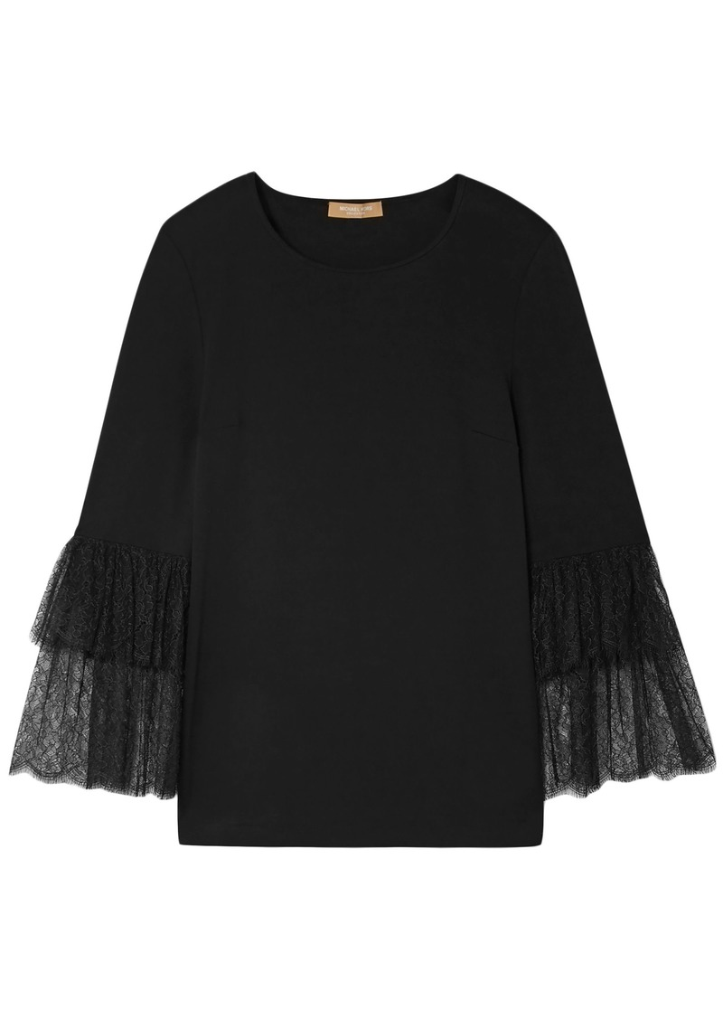 Michael Kors Collection Woman Lace-trimmed Stretch-jersey Top Black