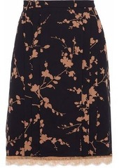 Michael Kors Collection Woman Layered Floral-print Silk And Corded Lace Skirt Black