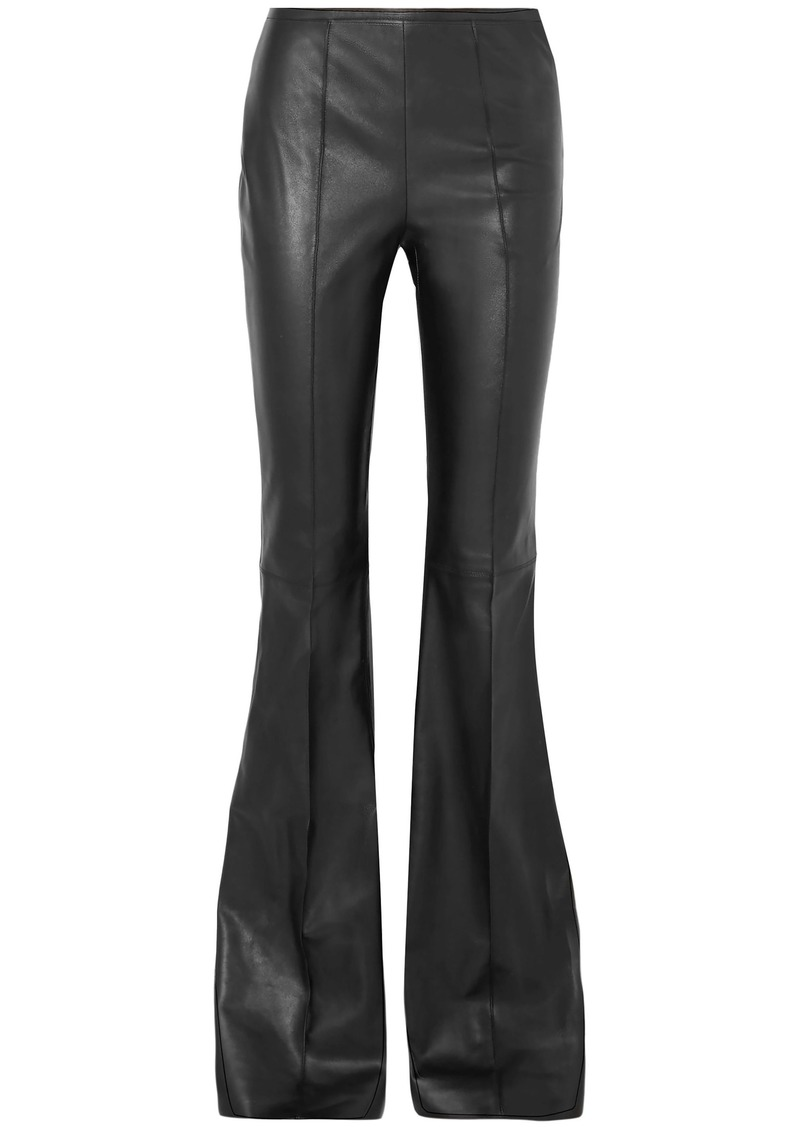 Michael Kors Collection Woman Leather Flared Pants Black
