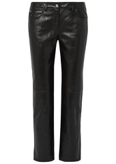 Michael Kors Collection Woman Leather Straight-leg Pants Black