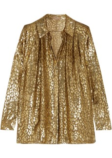 Michael Kors Collection Woman Metallic Fil Coupé Organza Shirt Gold