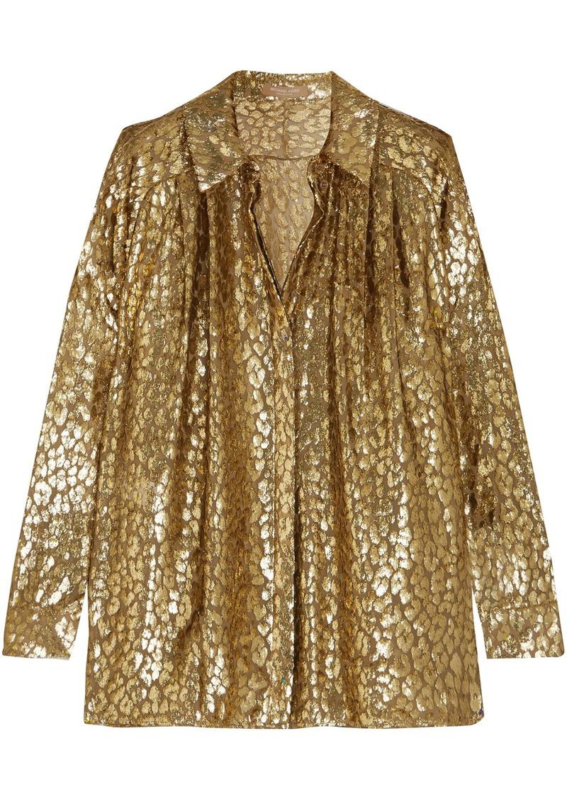 Michael Kors Collection Woman Metallic Fil Coupé Organza Shirt Gold