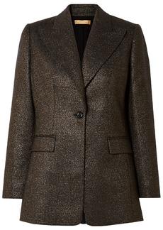 Michael Kors Collection Woman Metallic Checked Wool-blend Blazer Bronze