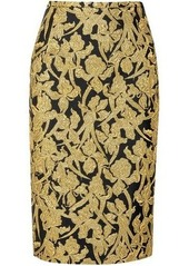 Michael Kors Collection Woman Metallic Jacquard Pencil Skirt Gold