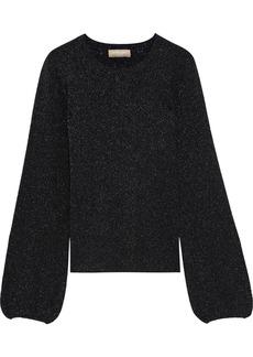 Michael Kors Collection Woman Metallic Merino Wool-blend Sweater Black