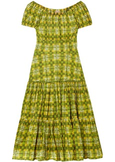Michael Kors Collection Woman Off-the-shoulder Checked Cotton-poplin Dress Lime Green