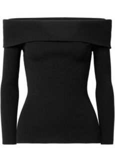 Michael Kors Collection Woman Off-the-shoulder Ribbed-knit Sweater Black