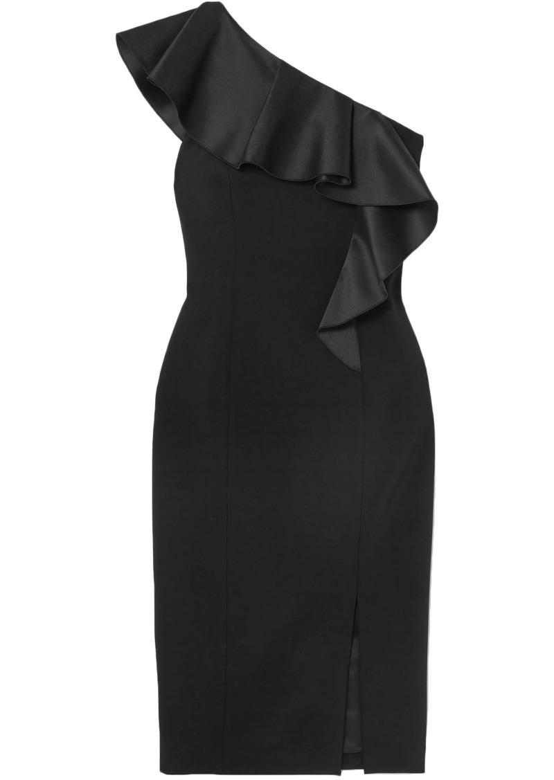 Michael Kors Collection Woman One-shoulder Ruffled Wool-blend Crepe Dress Black