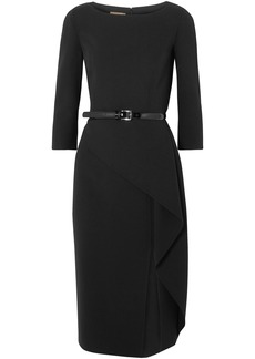 Michael Kors Collection Woman Origami Belted Draped Wool-blend Crepe Dress Black