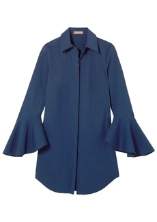 Michael Kors Collection Woman Oversized Stretch-cotton Poplin Shirt Indigo