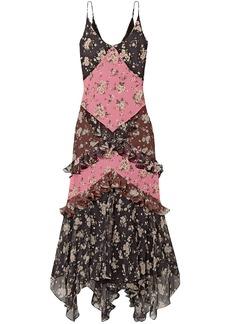 Michael Kors Collection Woman Paneled Ruffled Floral-print Silk-chiffon And Crepe Maxi Dress Black