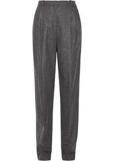 Michael Kors Collection Woman Pleated Wool And Cashmere-blend Tapered Pants Anthracite