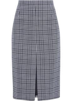 Michael Kors Collection Woman Prince Of Wales Checked Wool Pencil Skirt Black