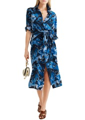 Michael Kors Collection Woman Printed Silk Crepe De Chine Midi Dress Navy