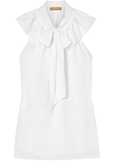 Michael Kors Collection Woman Pussy-bow Ruffled Silk-crepe Blouse White
