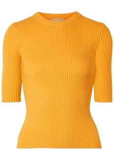 Michael Kors Collection Woman Ribbed Cashmere-blend Top Saffron