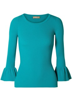 Michael Kors Collection Woman Ribbed-knit Top Turquoise
