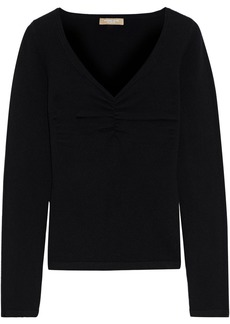 Michael Kors Collection Woman Ruched Cashmere-blend Sweater Black