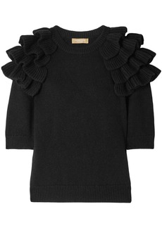 Michael Kors Collection Woman Ruffled Cashmere Sweater Black
