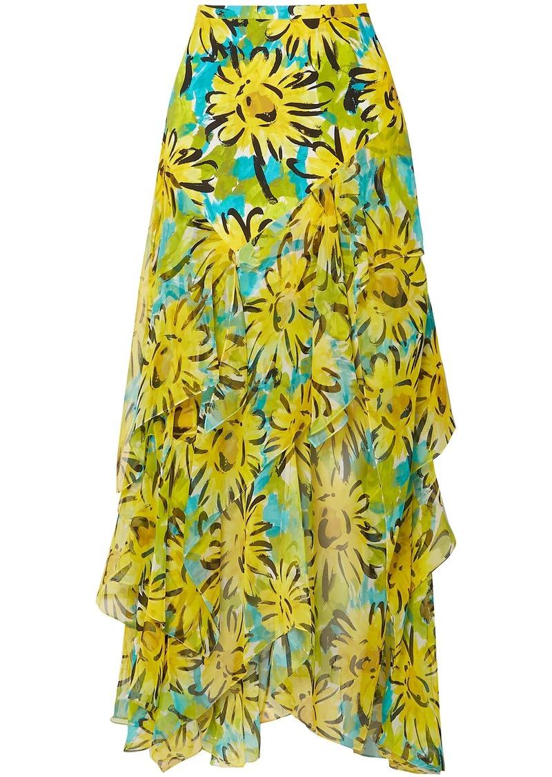 Michael Kors Collection Woman Ruffled Floral-print Silk-chiffon Midi Skirt Yellow