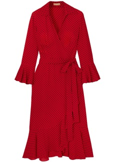 Michael Kors Collection Woman Ruffled Polka-dot Silk Crepe De Chine Midi Wrap Dress Tomato Red