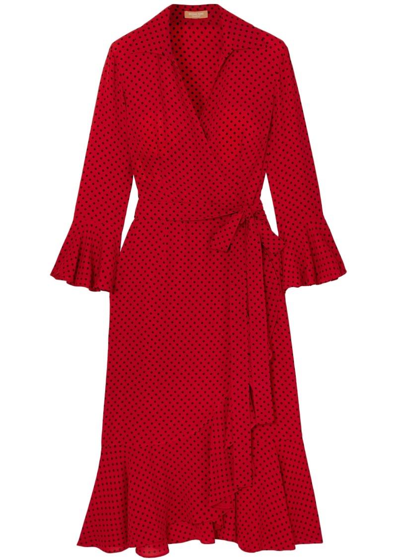 Michael Kors Collection Woman Ruffled Polka-dot Silk Crepe De Chine Midi Wrap Dress Tomato Red