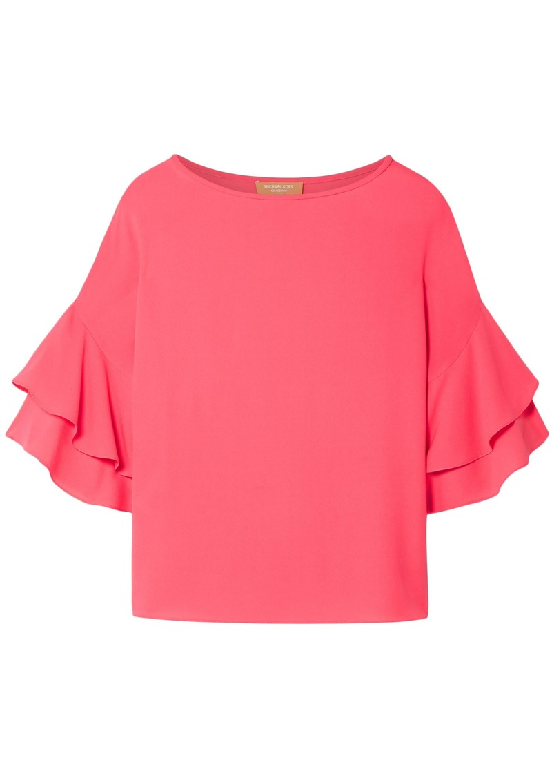 Michael Kors Collection Woman Ruffled Silk-georgette Blouse Pink