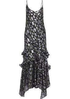 Michael Kors Collection Woman Ruffled Snake-print Fil Coupé Silk-blend Chiffon Maxi Dress Black
