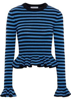 Michael Kors Collection Woman Ruffled Striped Cashmere Peplum Sweater Blue