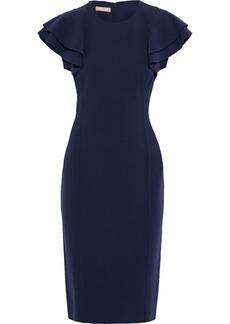 Michael Kors Collection Woman Ruffled Wool-blend Crepe Dress Navy