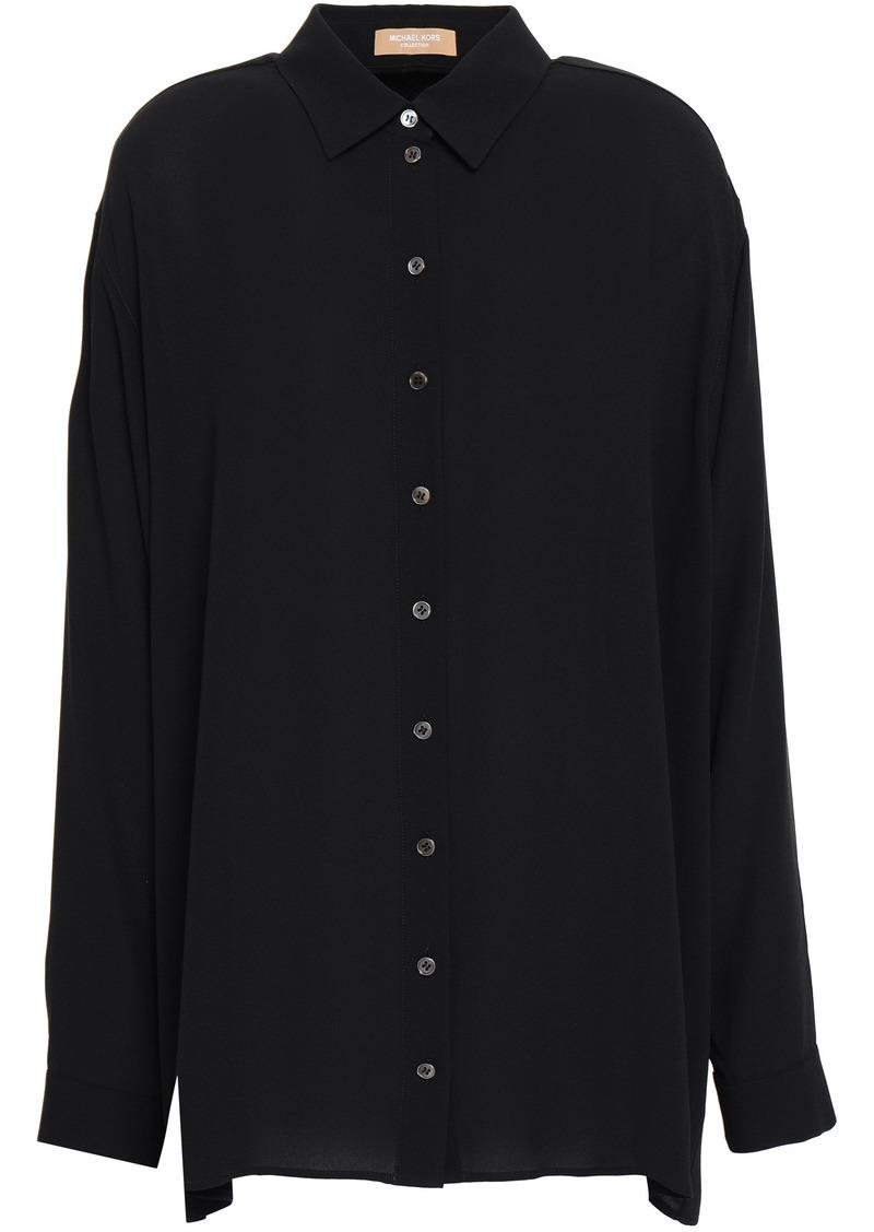 Michael Kors Collection Woman Silk-crepe Shirt Black
