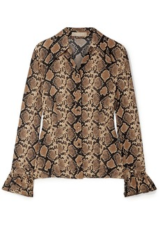 Michael Kors Collection Woman Snake-print Silk Crepe De Chine Shirt Animal Print