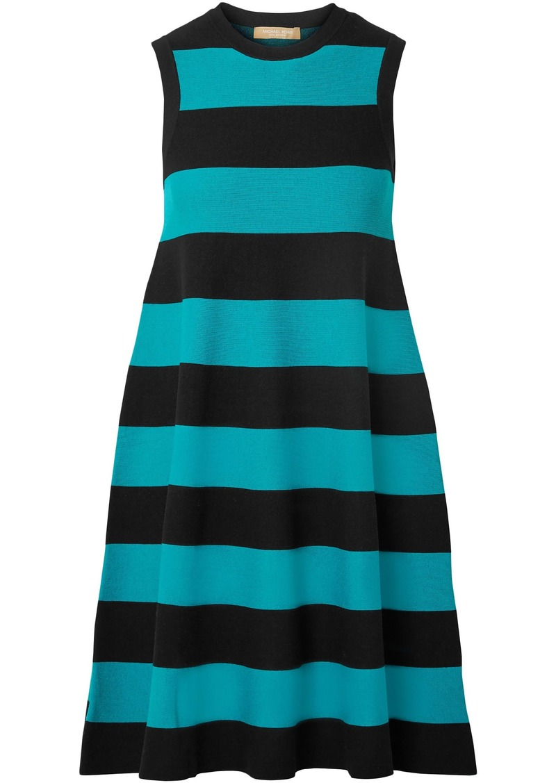 Michael Kors Collection Woman Striped Knitted Dress Turquoise
