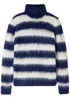 Michael Kors Collection Woman Striped Mohair-blend Turtleneck Sweater Navy