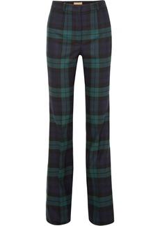 Michael Kors Collection Woman Tartan Wool-blend Flared Pants Indigo