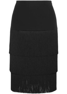 Michael Kors Collection Woman Tiered Fringed Crepe Skirt Black