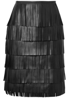 Michael Kors Collection Woman Tiered Fringed Leather Mini Skirt Black