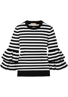 Michael Kors Collection Woman Tiered Striped Cashmere-blend Top Black
