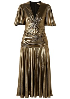 Michael Kors Collection Woman Twisted Ruched Lamé Midi Dress Gold