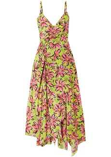 Michael Kors Collection Woman Wrap-effect Floral-print Silk Crepe De Chine Midi Slip Dress Chartreuse