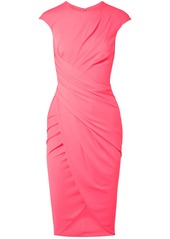 Michael Kors Collection Woman Wrap-effect Gathered Stretch-crepe Dress Bubblegum