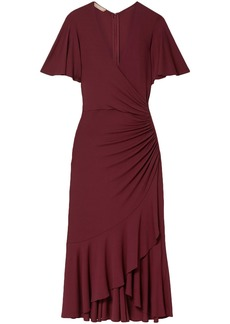 Michael Kors Collection Woman Wrap-effect Ruched Stretch-jersey Midi Dress Burgundy