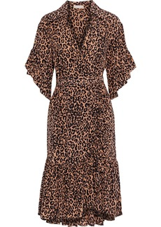 Michael Kors Collection Woman Wrap-effect Ruffle-trimmed Leopard-print Silk-crepe Dress Animal Print