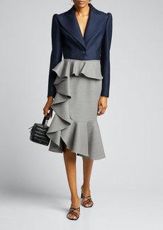 Michael Kors Collection Wool-Blend Cascade Ruffle Skirt