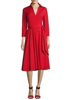 Michael Kors Collection Wrap-Front 3/4-Sleeve Shirtdress