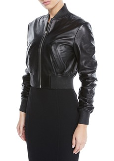 Michael Kors Collection Zip-Front Plonge Leather Cropped Bomber Jacket